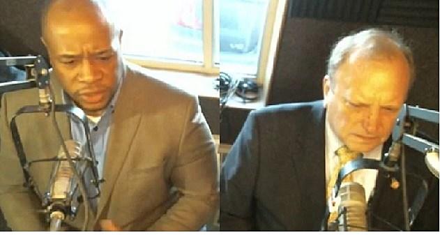 Former Calhoun County Commissioner Terris Todd and Rep. Dr. John Bizon (R-Battle Creek) in the WBCK studio April 5, 2016. TSM/WBCK