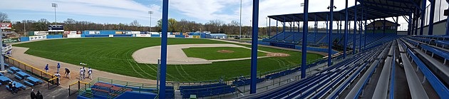 A panoramic view of C.O. Brown Stadium, with new netting from first to third base. (Photo - Nathan Adams)