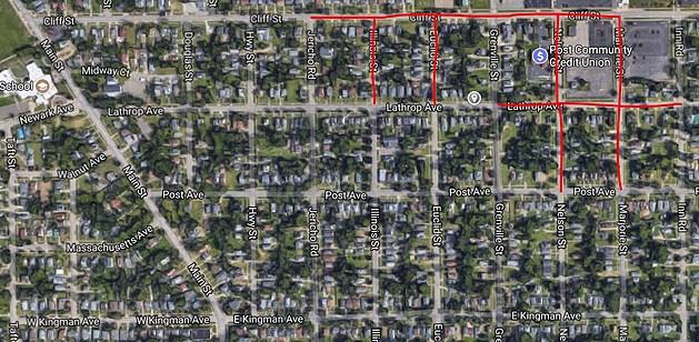Battle Creek Boil Water Advisory map for July 5th, 2017 (Google Street View)