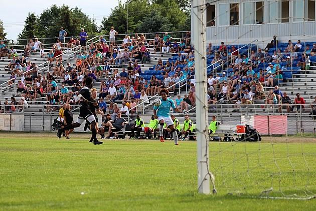 Kalamazoo FC's Jay McIntosh dribbles his way into the box for another scoring chance. (Brian Lam - Kalamazoo FC)