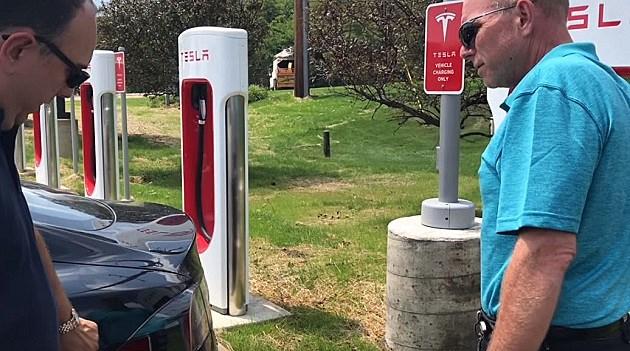 Tesla charging station in Marshall. TSM WBCK
