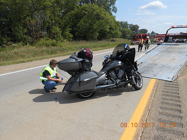 The motorcycle involved in the August 10th crash along Interstate 69 near Marshall (Photo provided - Calhoun County Sheriff's Department)