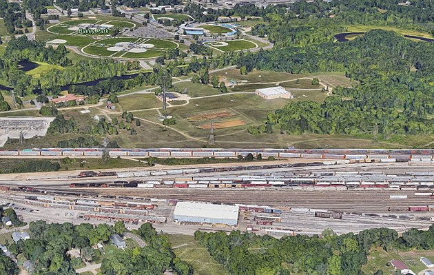 The Train Yard With Bailey Park In The Background. (Credit: Google Maps)
