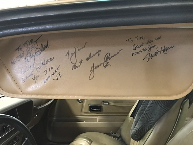 Jim Suva's Rockford tribute Firebird has been autographed by James Garner, as well as stuntman Roydon Clark and guest star James Whitmore, Jr., son of Shawshank Redemption actor James Whitmore. TSM WBCK