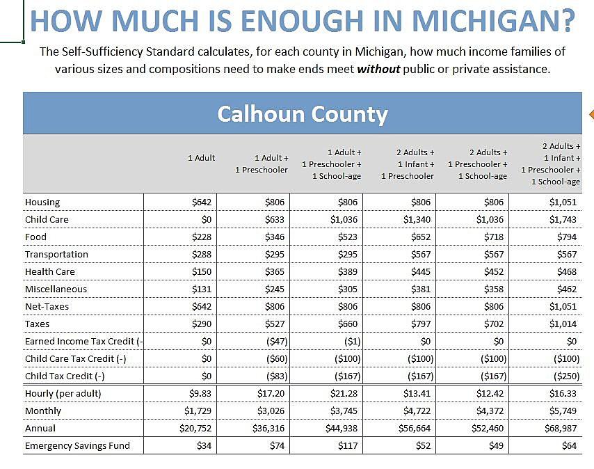 Self Sufficiency Standard for Michigan 2017